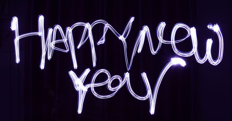 Happy New Year in lights