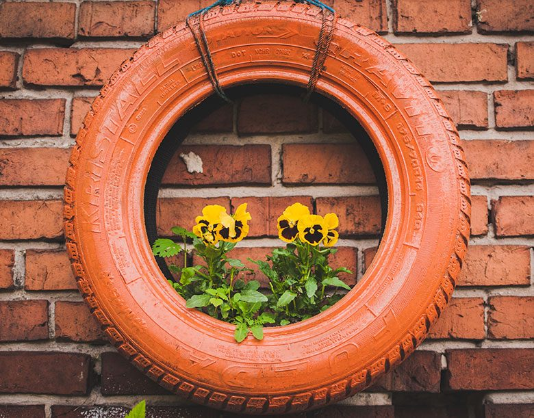 Painted car tire with flowers growing inside
