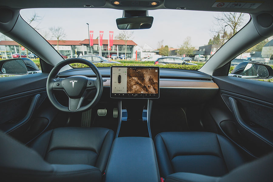 Tesla vehicle controls display